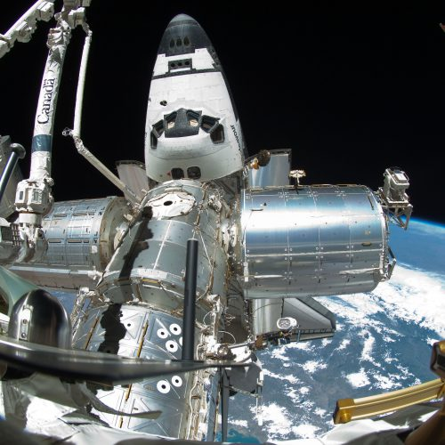 International Space Station and the docked space shuttle Endeavour (Columbus Lab at the right side)